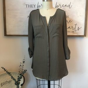 NWT Maurices Army Forest Heather Green Tunic Top